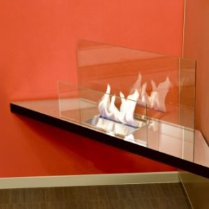 Corner flame inside fireplace - Ambience Eco Fires