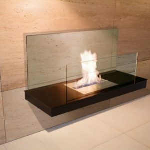 Inside eco friendly designer fireplace - Ambience Eco Fires