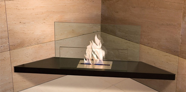 Corner fireplace eco friendly designer - Ambience Eco Fires