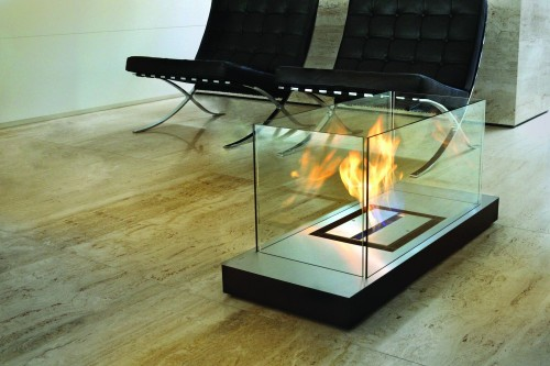 Inside designer flame fireplace - Ambience Eco Fires